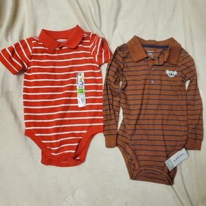 NWT collared striped onesies